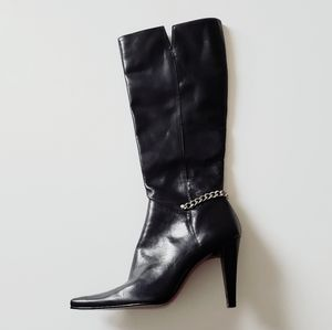 Nine West Leather Knee High Boots Blk 6.5M